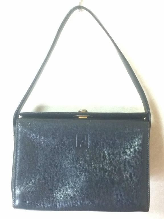 Fendi Vintage Fendi Genuine Navy Leather Square And Triangle Shape Handbag With Logo xGJGQM