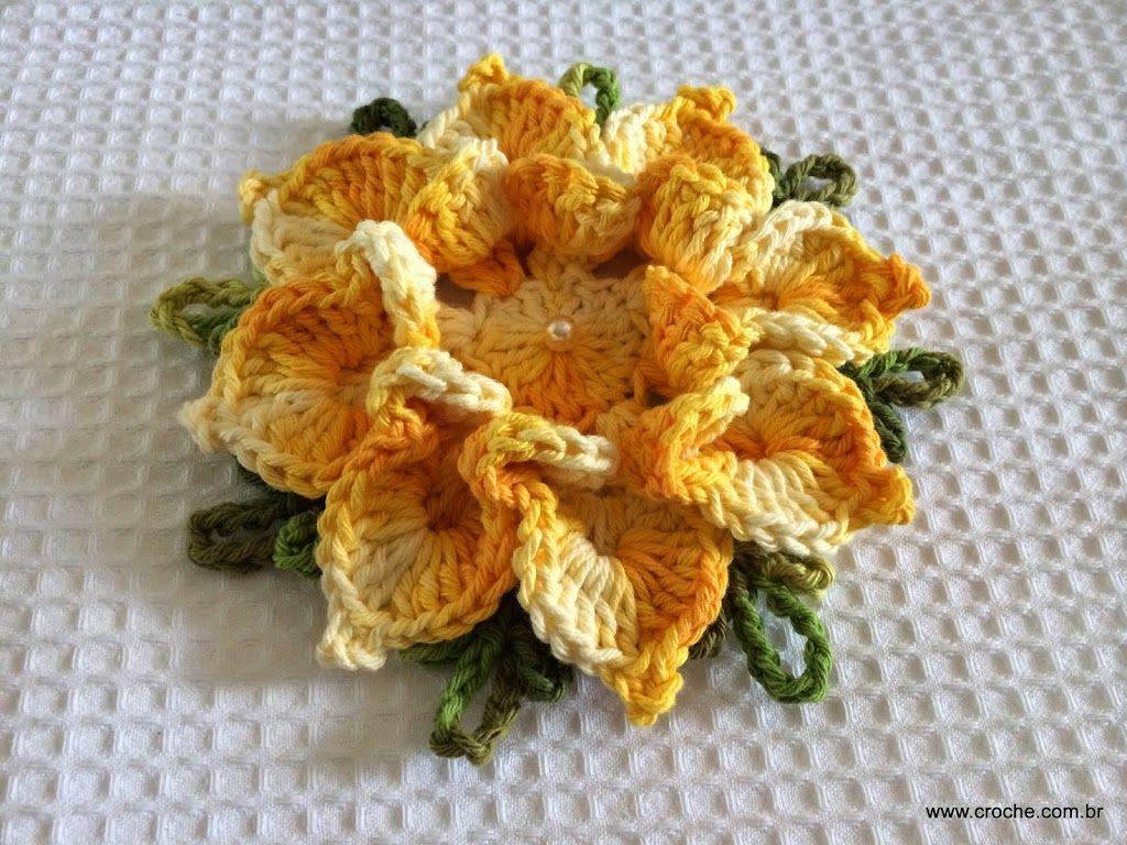 Flor bico de papagaio Motivos de croche Pinterest Crochet ...