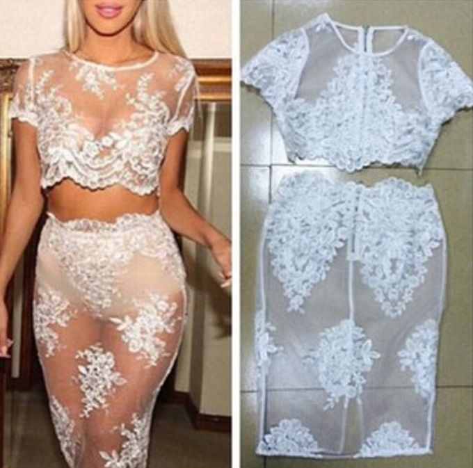 Image of Embroidered openwork crochet lace dress