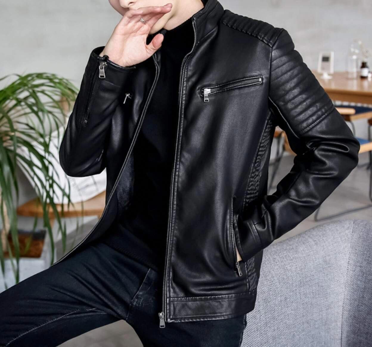 Description Mens Stand Collar Biker Jacket Fabric Faux Leather Fit Slim Fit Color Available Black Green Wine Brown S Leather Jacket Jackets Biker Jacket [ 1163 x 1248 Pixel ]