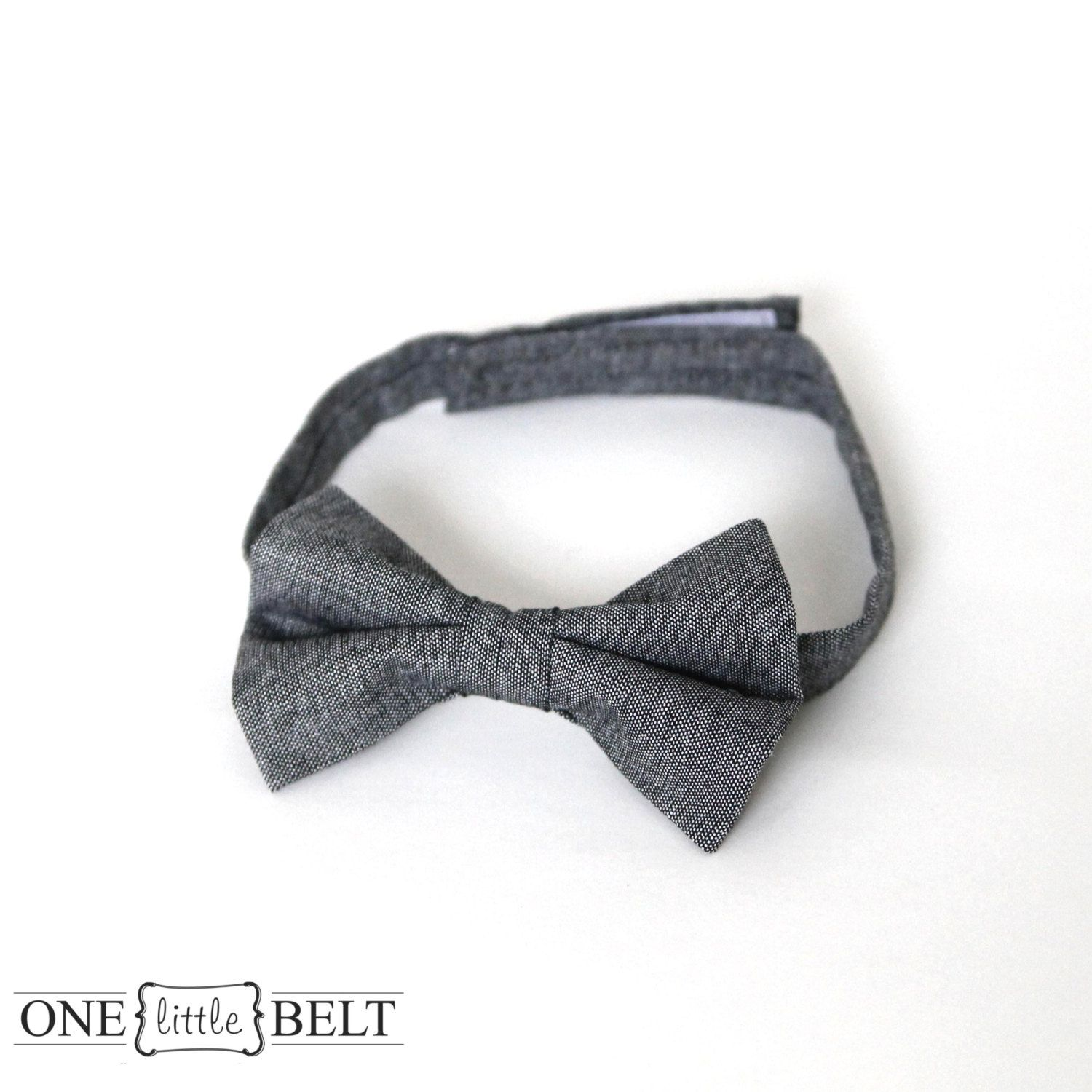 Gray Chambray Baby or Toddler Bow Tie Newborn4T by ONElittleBELT, $16.00