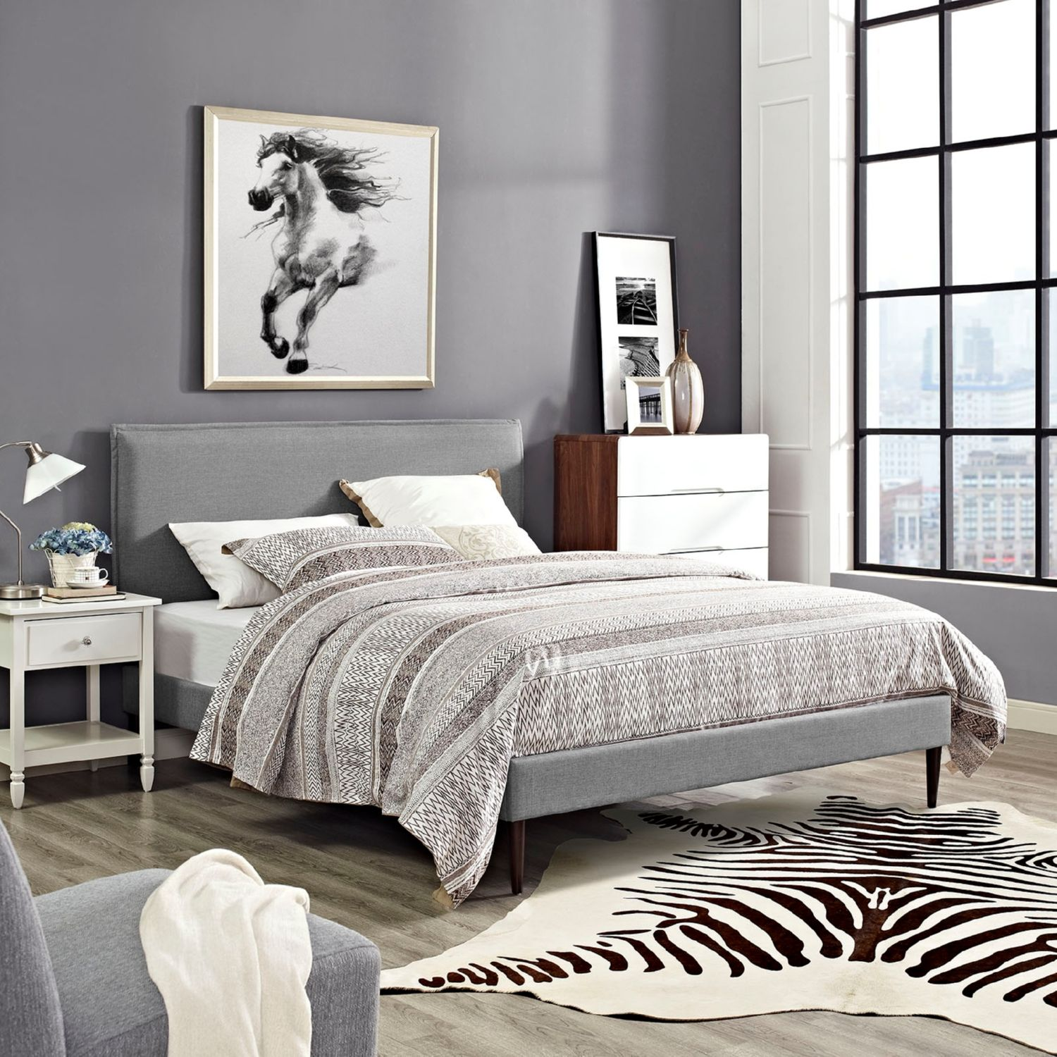 Modway Furniture 5635 Light Gray Queen Fabric Platform Bed Frame