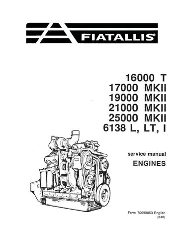 New Holland Fiat-Allis 16000T 17000 MKII 19000 MKII 21000