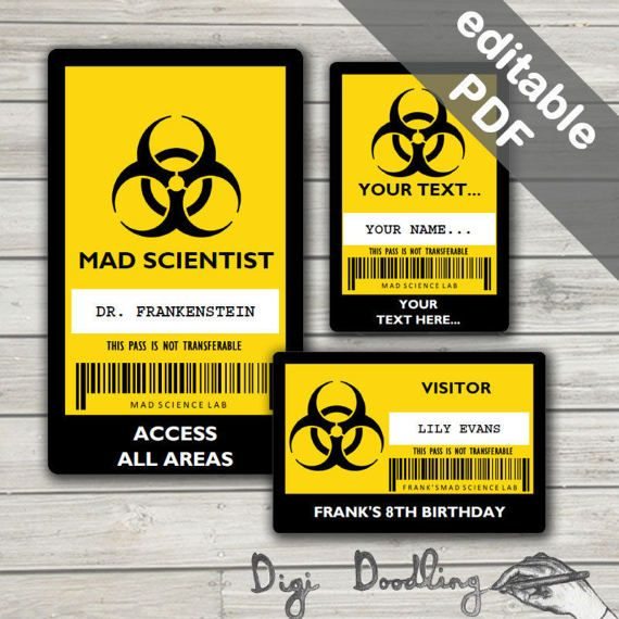 science party id badge mad scientist id badge template editable