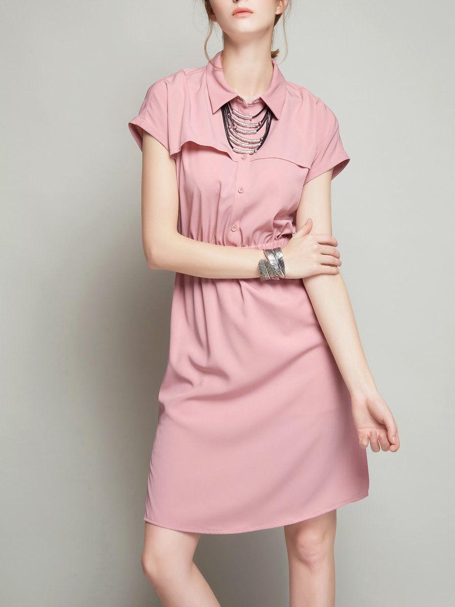 Adorewe stylewe midi dressesdesigner vc pink casual buttoned