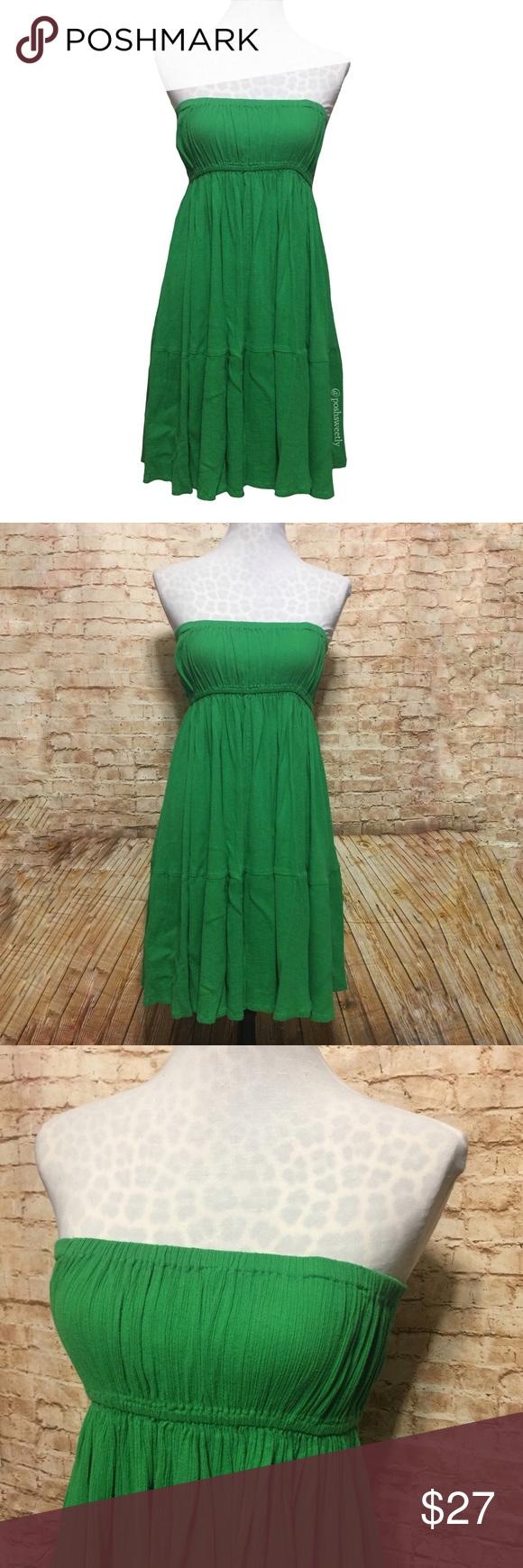 Zara Kelly Green Strapless Flowy Dress