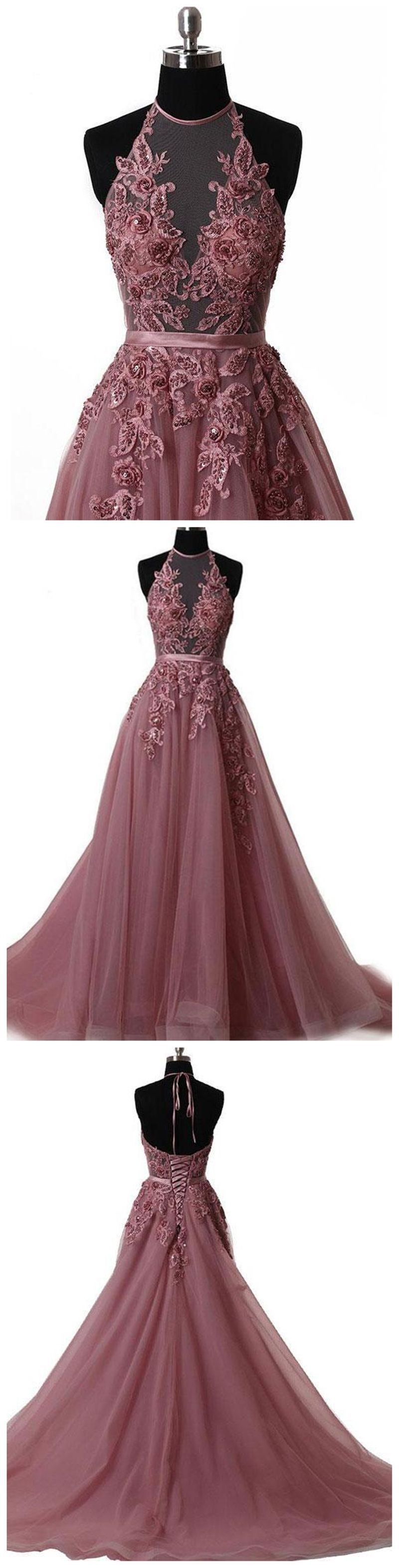 Halter dusty red see through a line lace long custom evening prom