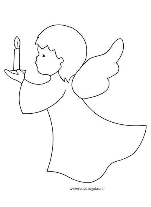 Disegno angelo candela artigianato in feltro natalizio for Immagini angeli da colorare