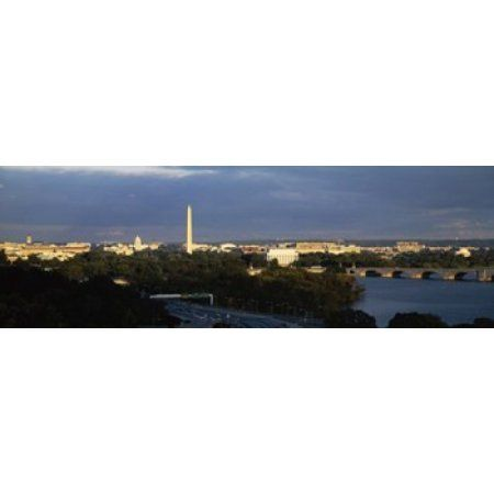 High angle view of a monument Washington Monument Potomac River Washington DC USA Canvas Art - Panoramic Images (18 x 6)