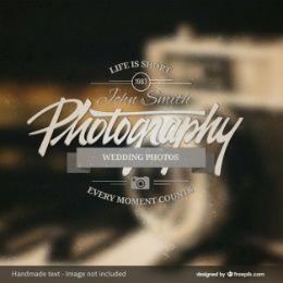 Photography badge over photo background