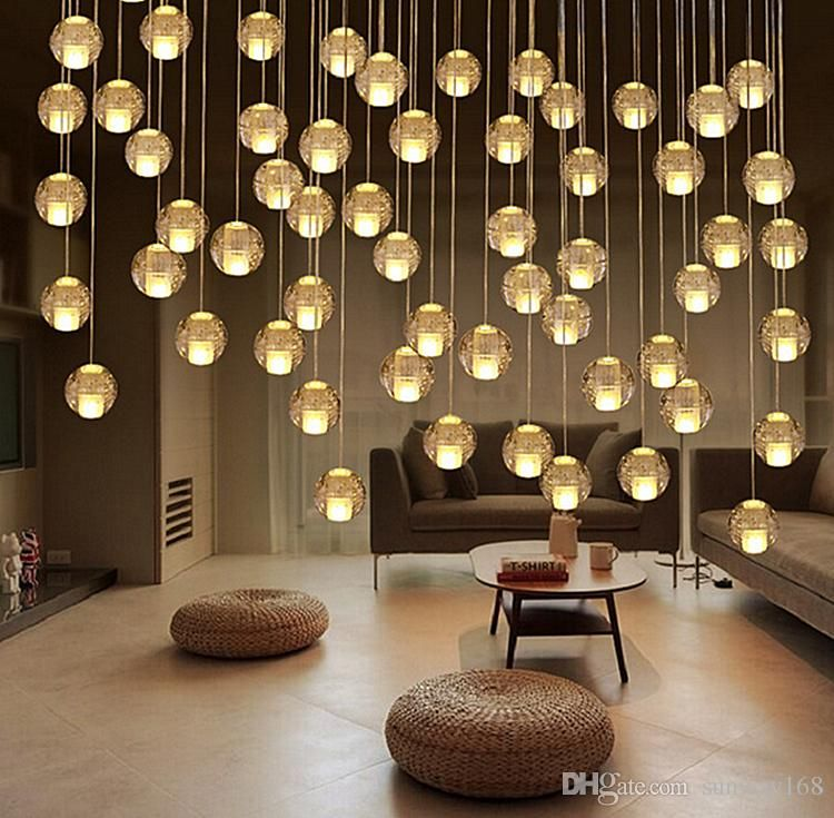 Crystal Glass Ball Pendant Lamp Meteor Rain Stair Bar Droplight Chandelier Light