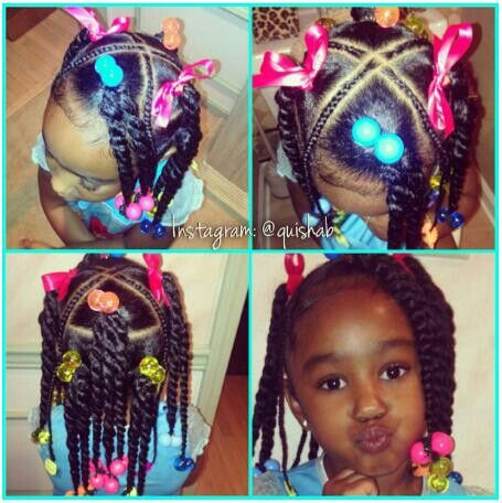 Wow That X Part Is Neat Ponytails With Twists African American Little Girl Hairstyle Toddler Hairstyles Girl Little Girl Ponytails Lil Girl Hairstyles