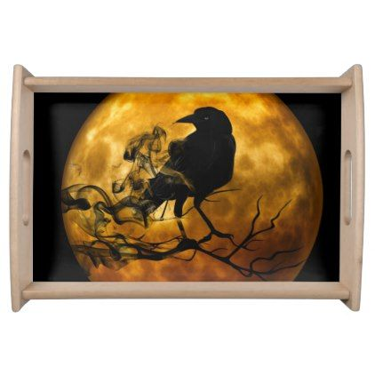 raven moon samhain halloween serving tray ravens