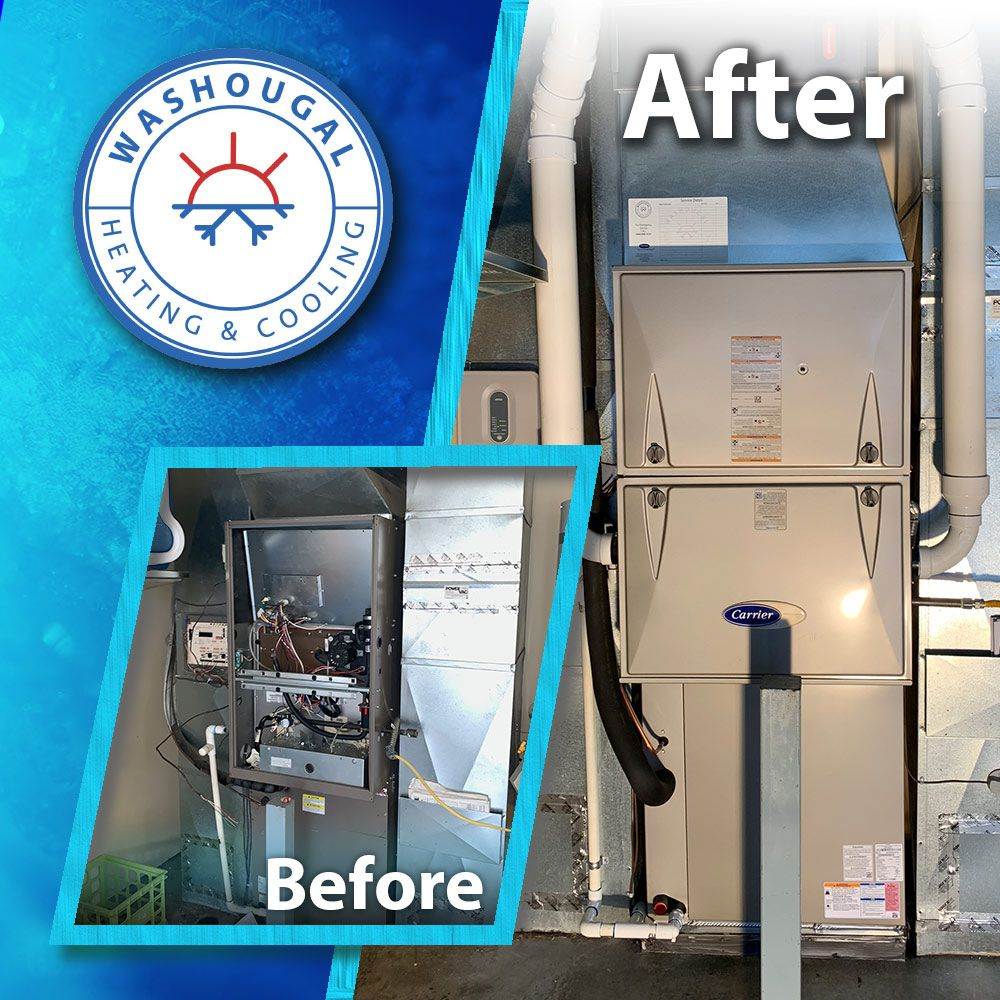 This Is A Before And After Picture Of A Carrier Furnace We