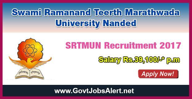 Srtmun Recruitment 2017 Hiring Assistant Professor Posts Salary