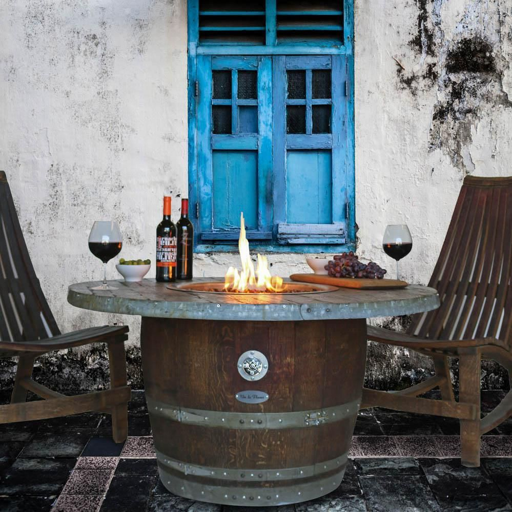 Crafted using reclaimed wine barrels this unique outdoor propane