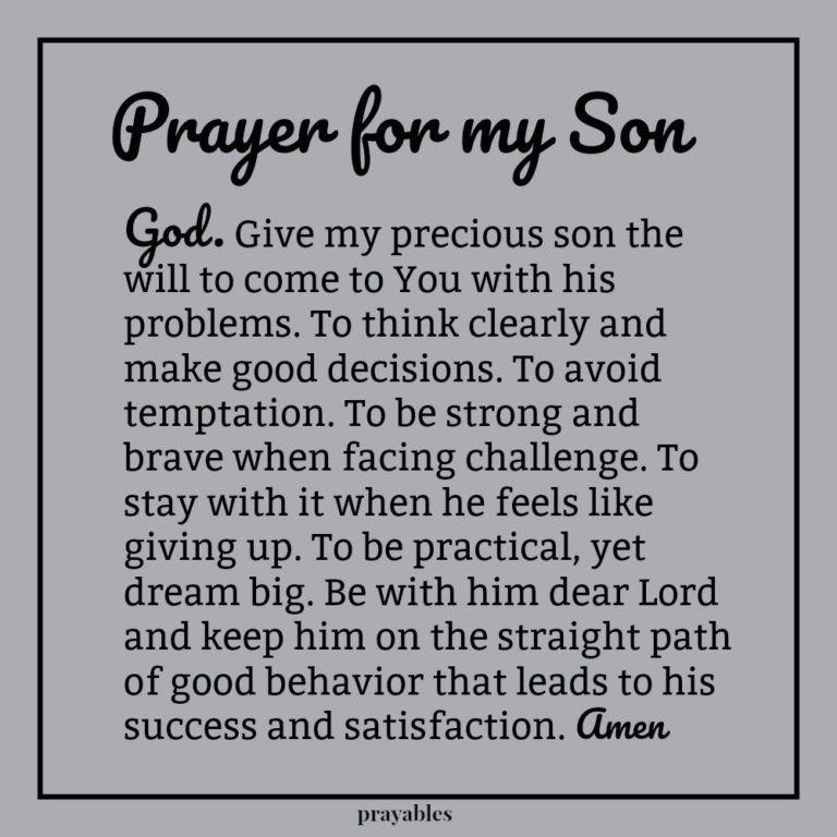 Prayer: For My Son - Prayables