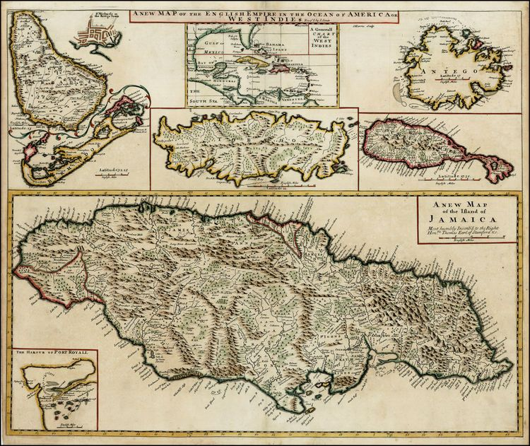 A New Map of the English Empire in the Ocean of America or West Indies (Jamaica,Port Royal, Bermuda, Barbados, Bridgetown, Tobago, Antigua, ...