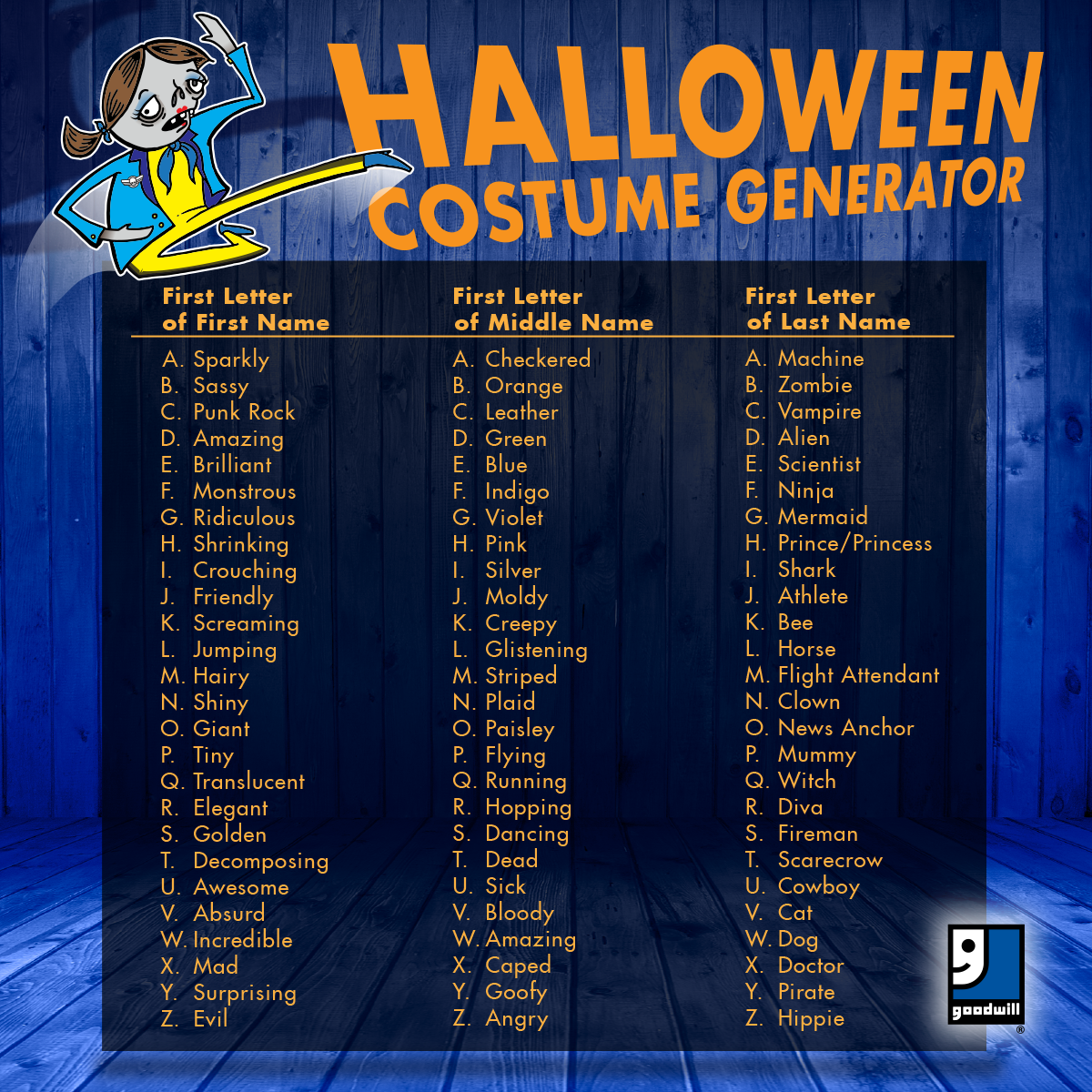 Get Ready For Halloween Our Costume Generator Will Help You Get A Unique Diy Idea Together In No Time Funny Name Generator Halloween Names Name Generator