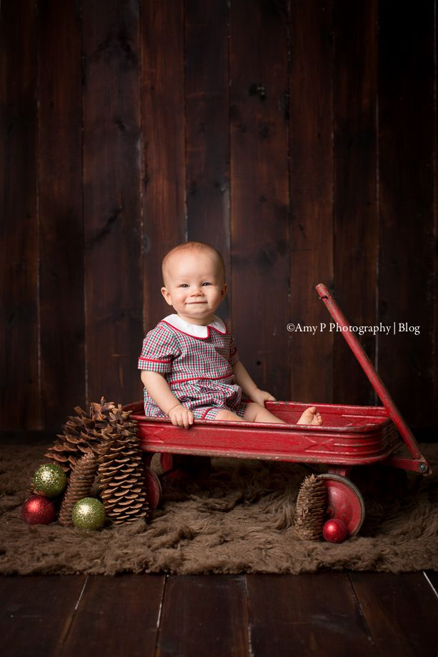 One year photo session for this handsome little boy! His indoor one year session/ family session was so much fun! Red wagon props are the best!