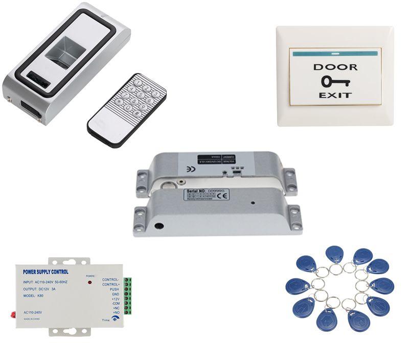Metal Case Access Biometrics Fingerprint Access Control Rfid Reader Electric Drop Bolt Door Lock Kit With 10 Tags 10 Pvc Access Control Biometrics Fingerprint