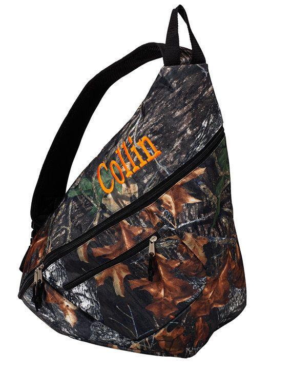 MONOGRAMMED Camo School Sling Backpack Bookbag
