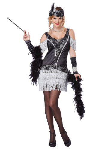 Great 1920s Flapper Costume.  Great Adult Halloween Costume Ideas!  Super sexy white fringe!