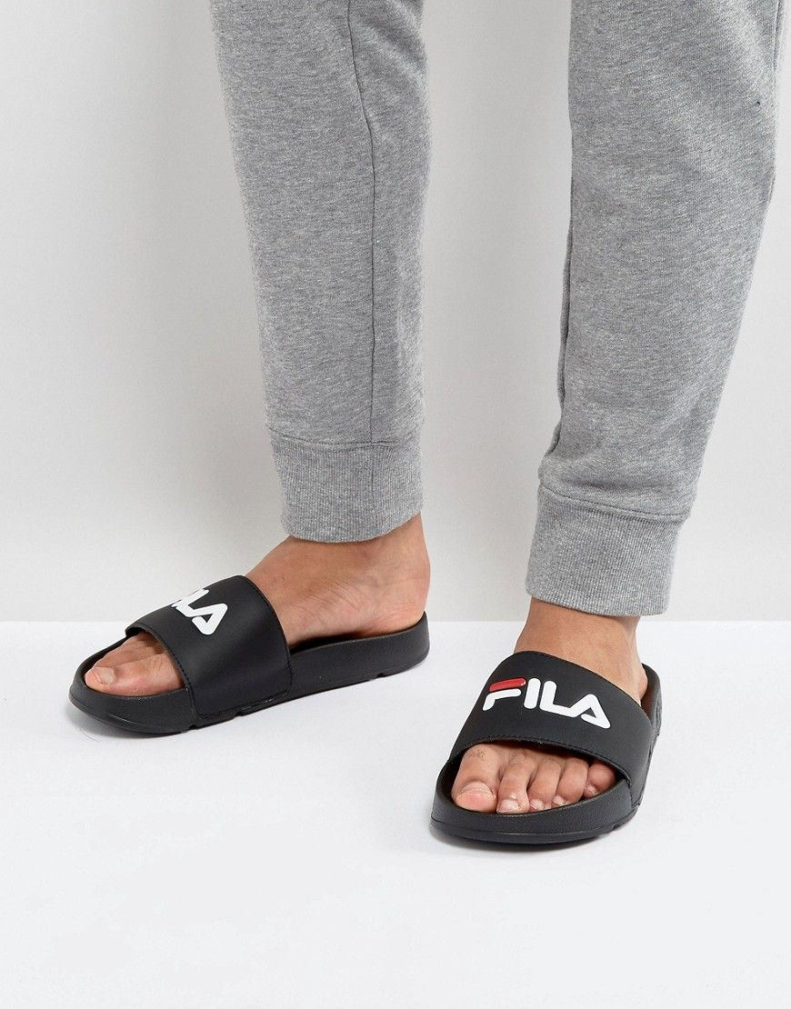 7f24744bbfd6e9 FILA DRIFTER SLIDERS IN BLACK - BLACK.  fila  shoes