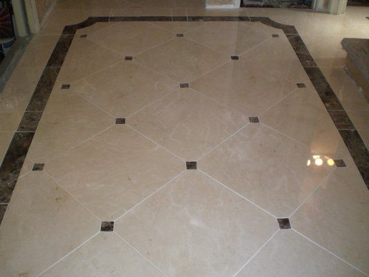 Ceramic Floor Borders Marble Floor With 3 X3 Clipped