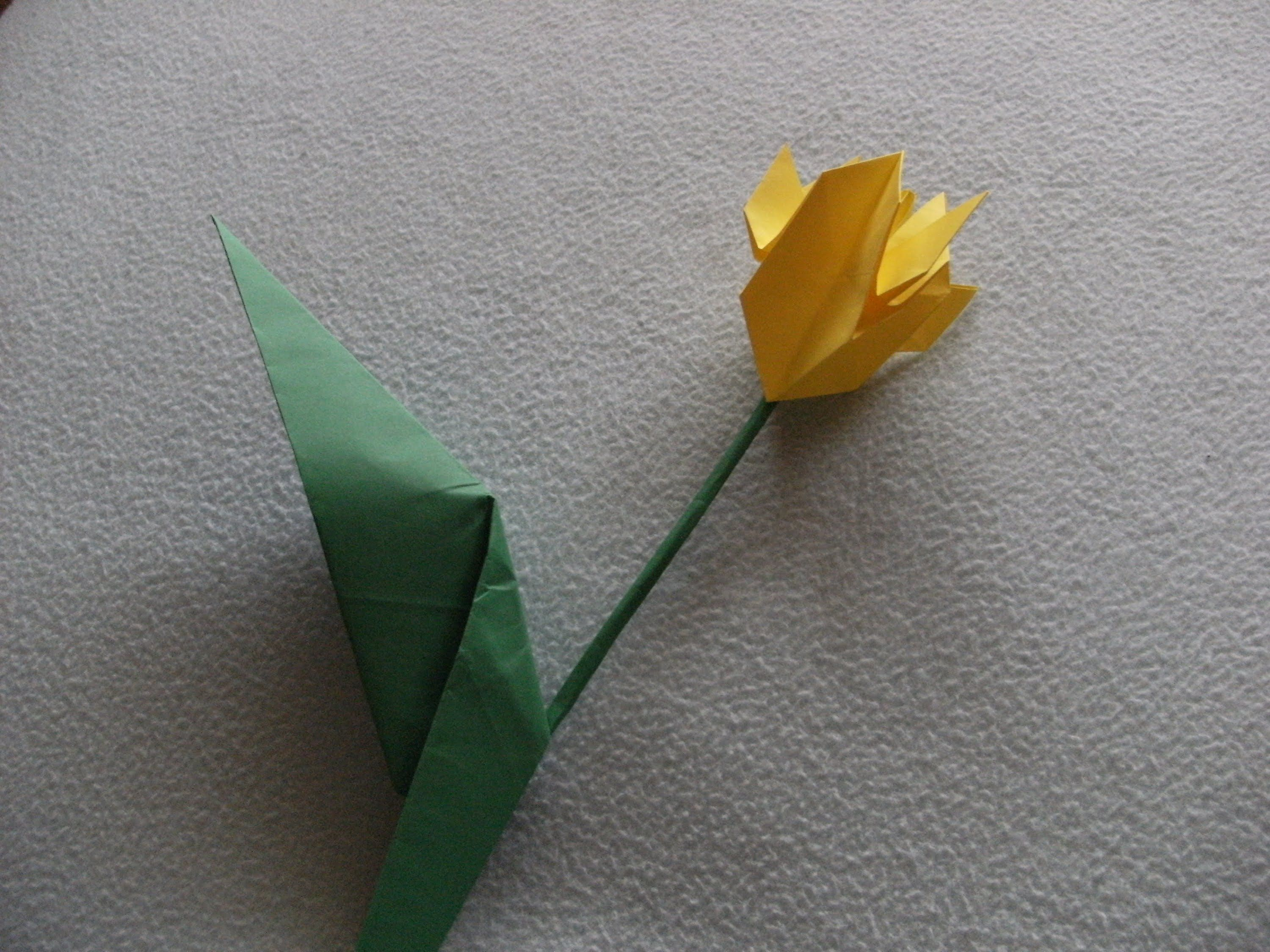 3d Origami Flower Tulip With Leaf How To Make Origami