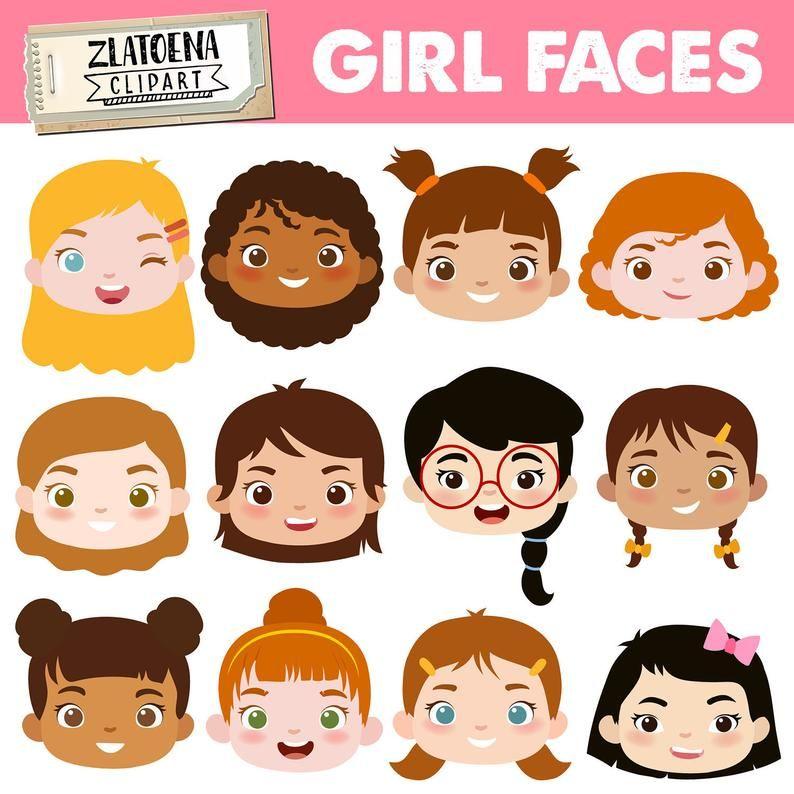 digital Kids Faces Kids clipart 6 Cartoon Kids clipart digital Kids,cartoon clipart,cartoon faces clipart,scrapbooking Kids clipart set