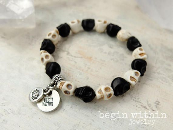Remember Your Loved Ones In Spirit With This Meaningful Skull Custom Charm Bracelet Initial