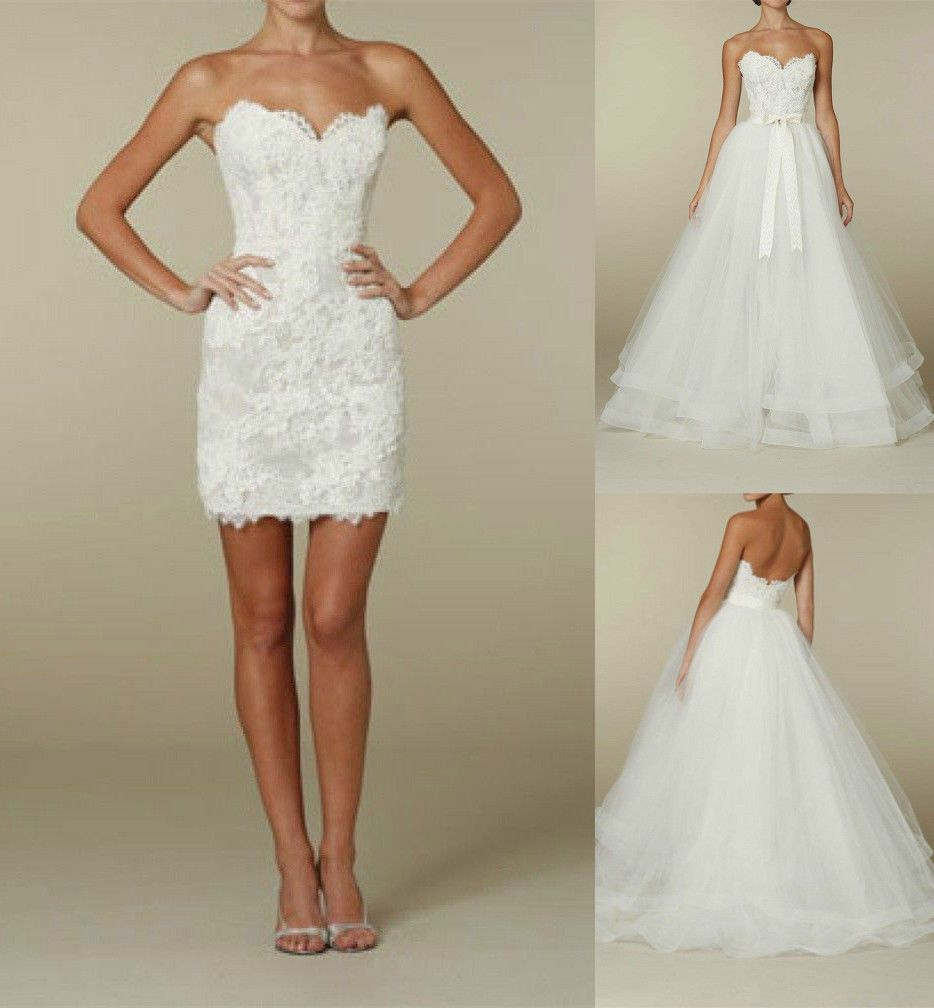 Two in one short bridal gown detachable lace skirt wedding dress