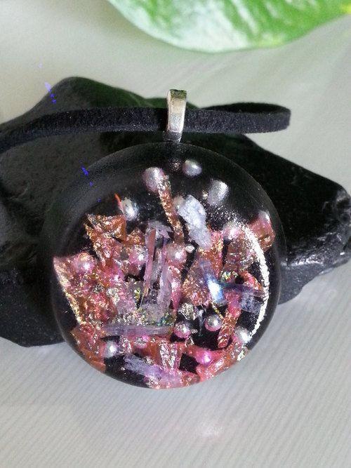 Pink Iridescent Midnight Orgone Energy Pendant -Quartz Crystal, Pyrite, Blue Kyanite