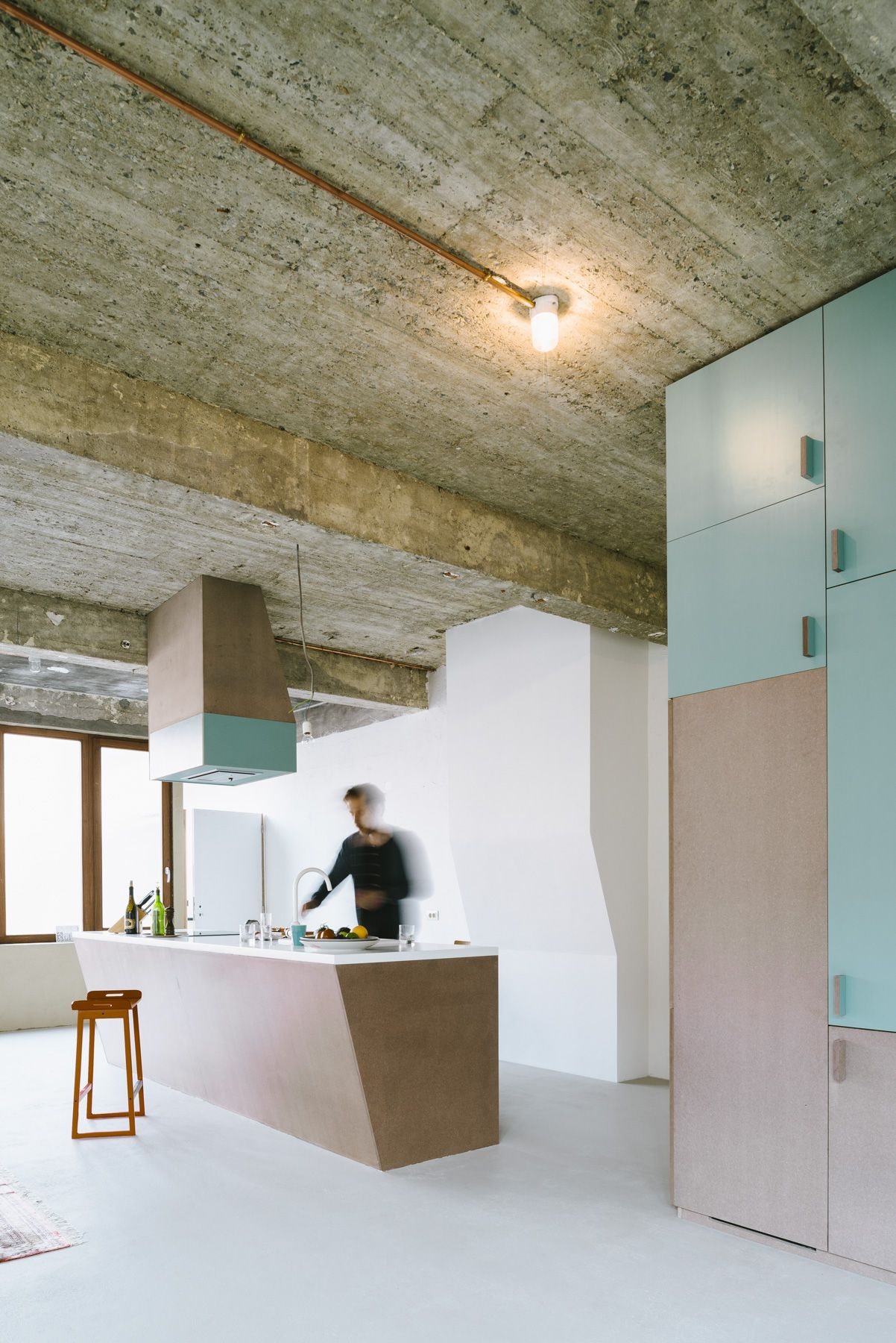 Reconversion Of Warehouse, Anderlecht Turquoise Industrial Kitchen Design