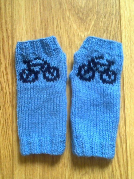 Wrist warmers with bicycle bike motifs - fingerless gloves ...
