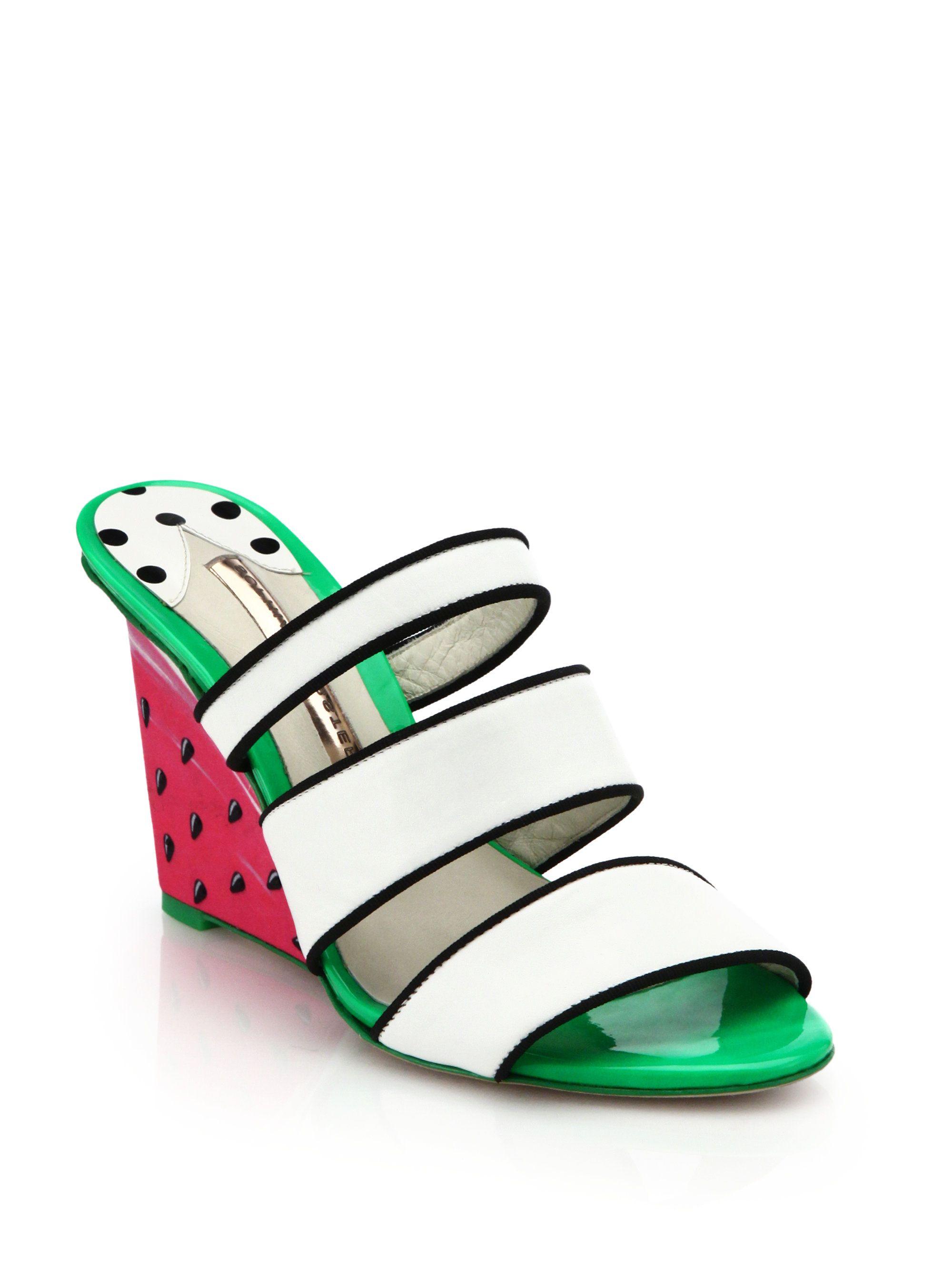 af6862dc3d0 Sophia Webster Brooke Watermelon Wedge Sandals in Green (WHITE ...