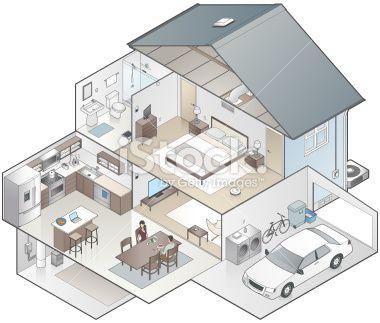 Detailed Cutaway Illustration Of A Modern House In Isometric View House Modern House Isometric Design