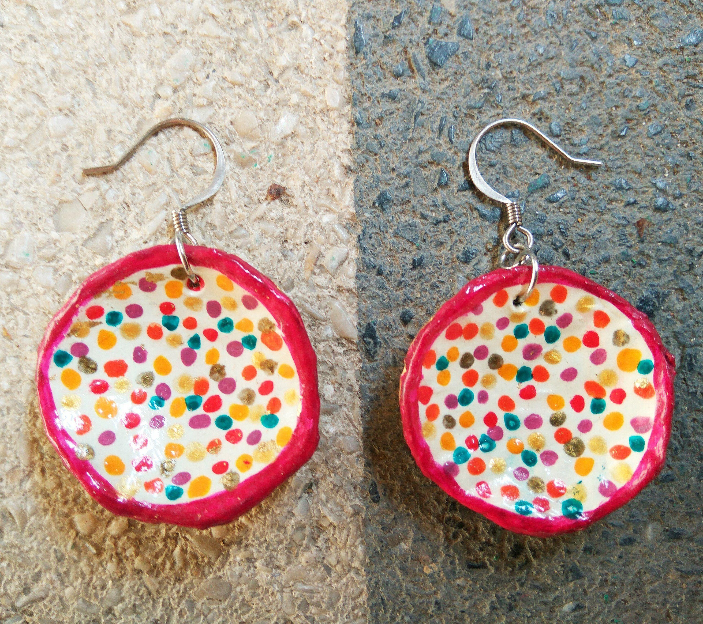 Hand painted polka dot Earrings Paper Mache Recycled Paper earrings Unique colourful dangle earrings Art Jewelry