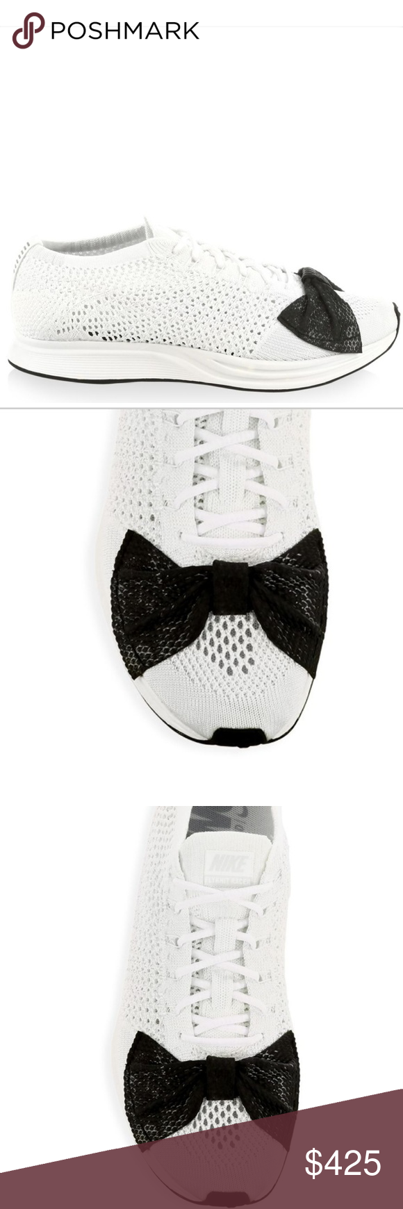 b8452a5154c Nike x Comme des Garcons Bow tie Sneakers sz. 9 Nike Collab. W  Comme des  Garcons Flyknit racer sneaker (mesh knit upper round toe rubber sole) Size  9 white ...