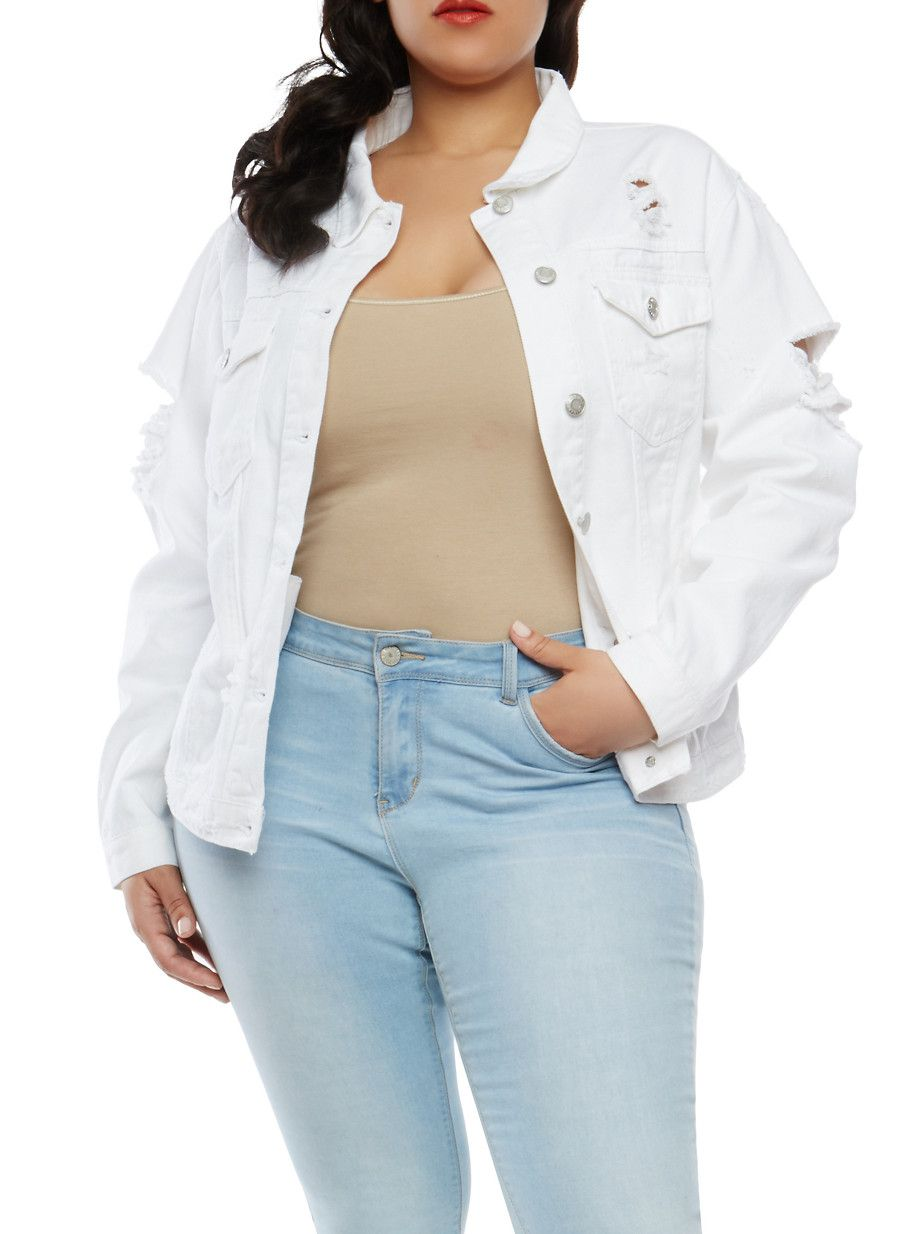 c098e22a413 Plus Size WAX Destroyed Denim Jacket - White - Size 2X