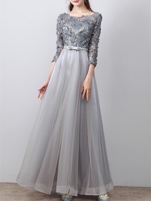 1c7620194c 2017 A-line Princess Scoop Neck Long Sleeve Appliques Long Prom Dresses