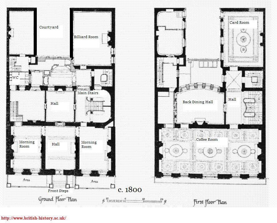 Layout of white 39 s interior 1800 regency gentlemen 39 s for Regency house plans
