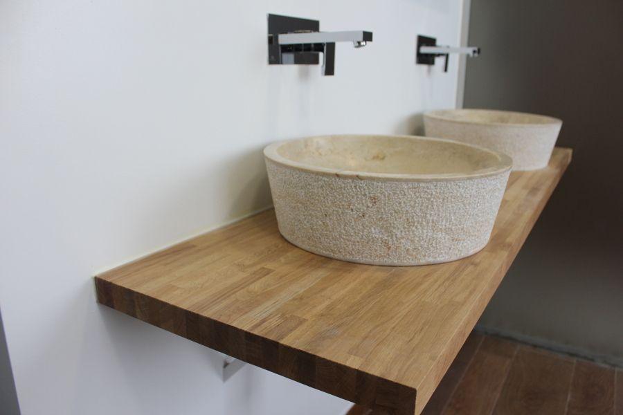 bao dormitorio principal lavabo de piedra y encimera de madera maciza - Encimera Madera Maciza