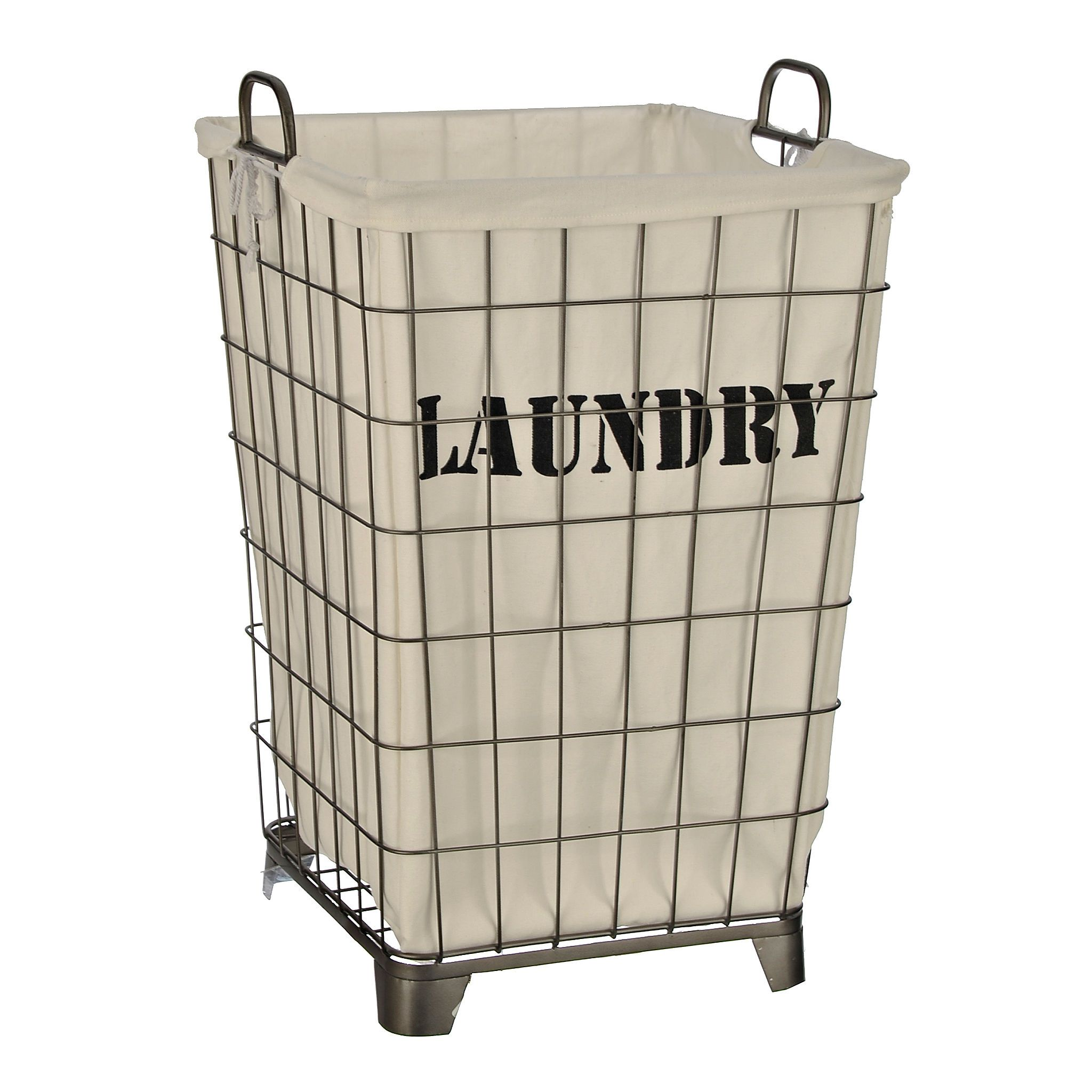 White Lined Wire Laundry Basket Wire Laundry Basket Laundry