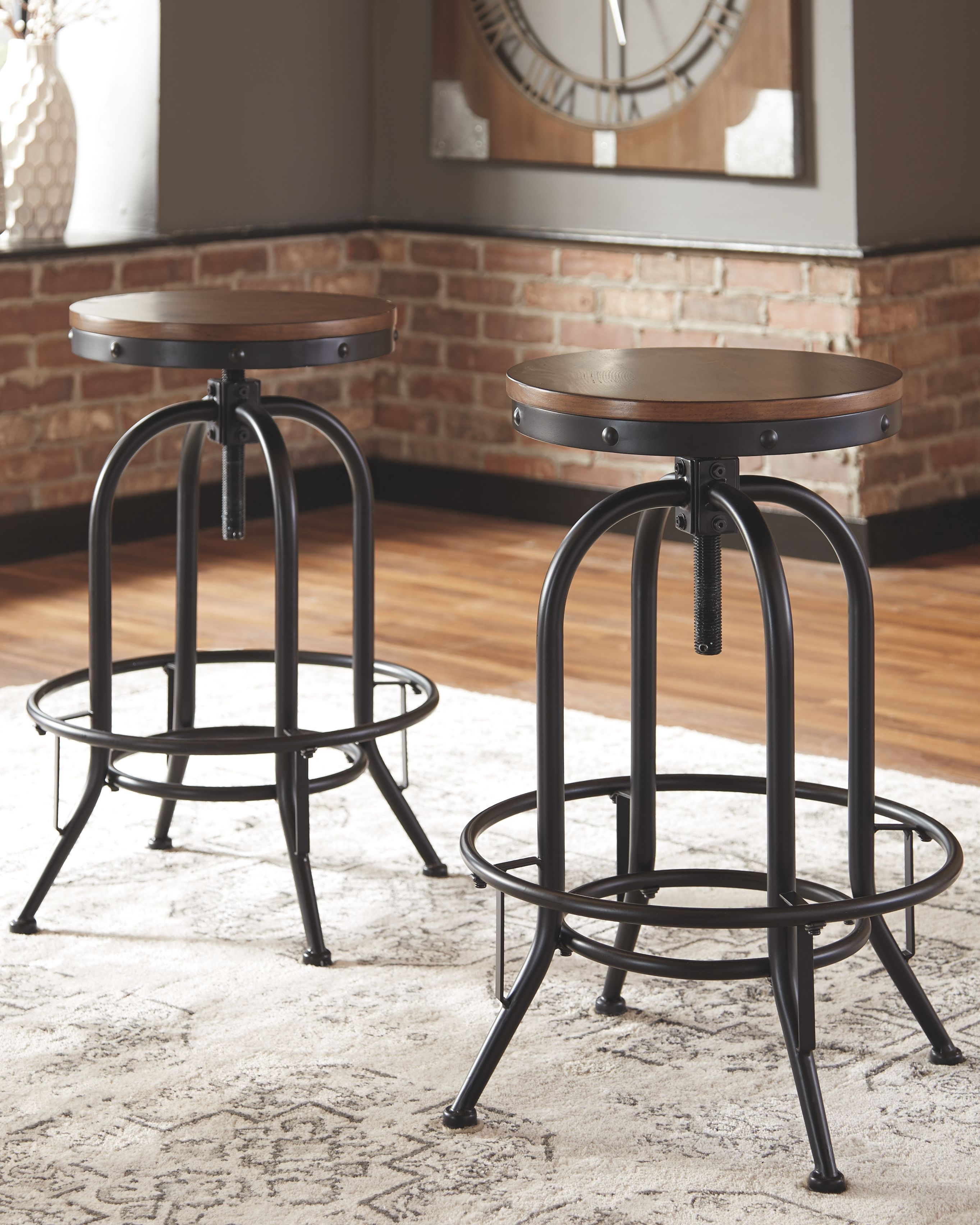 Valebeck Bar Height Bar Stool Set Of 2 Brown Black Products