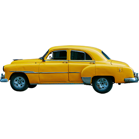 A Classic Car Painted A Bright School Bus Yellow Viewed From A Side Elevation Background Removed As Per The Usual Yellow Car Car Immediate Entourage