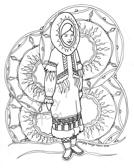 Sunshine Woman Hand Drawn Alaska Native Coloring Page Download And Print Your Own Coloring Pages Native Artwork How To Draw Hands