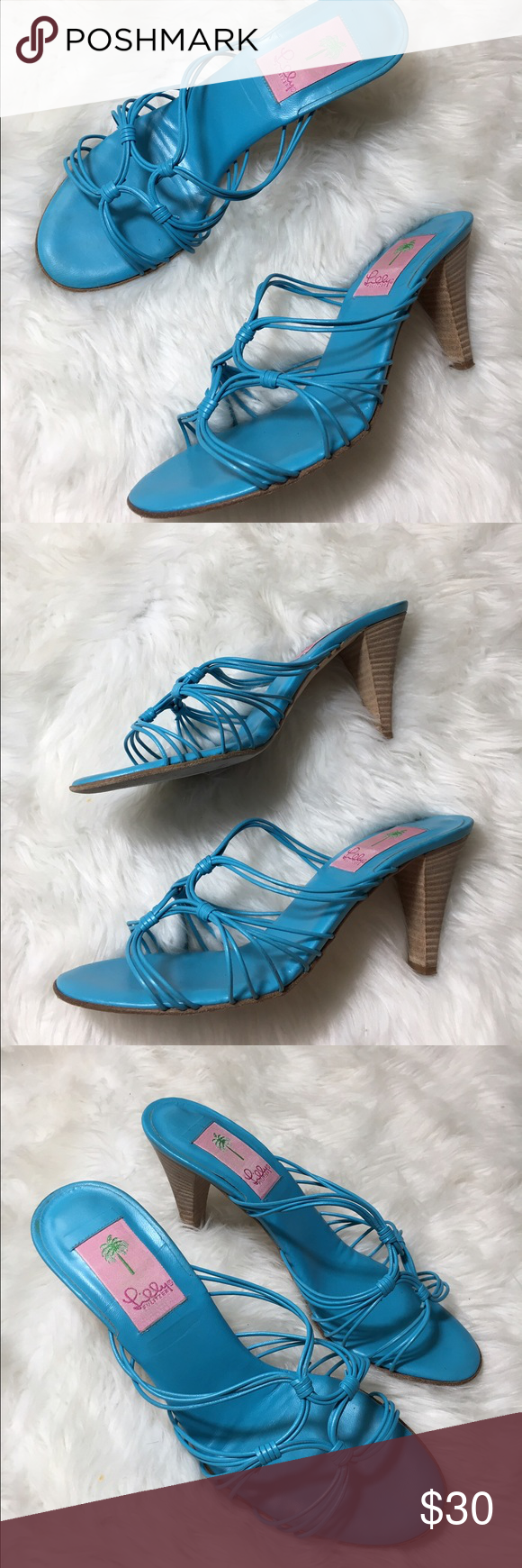 """Iilly Pulitzer Nicky blue Strappy heels women 8.5 Lilly Pulitzer Nicky light blue, strappy sandal with a 3.5"""" heel. Women's size 8.5 medium width, in great condition with the only wear on bottom of the sole. Lilly Pulitzer Shoes Heels"""