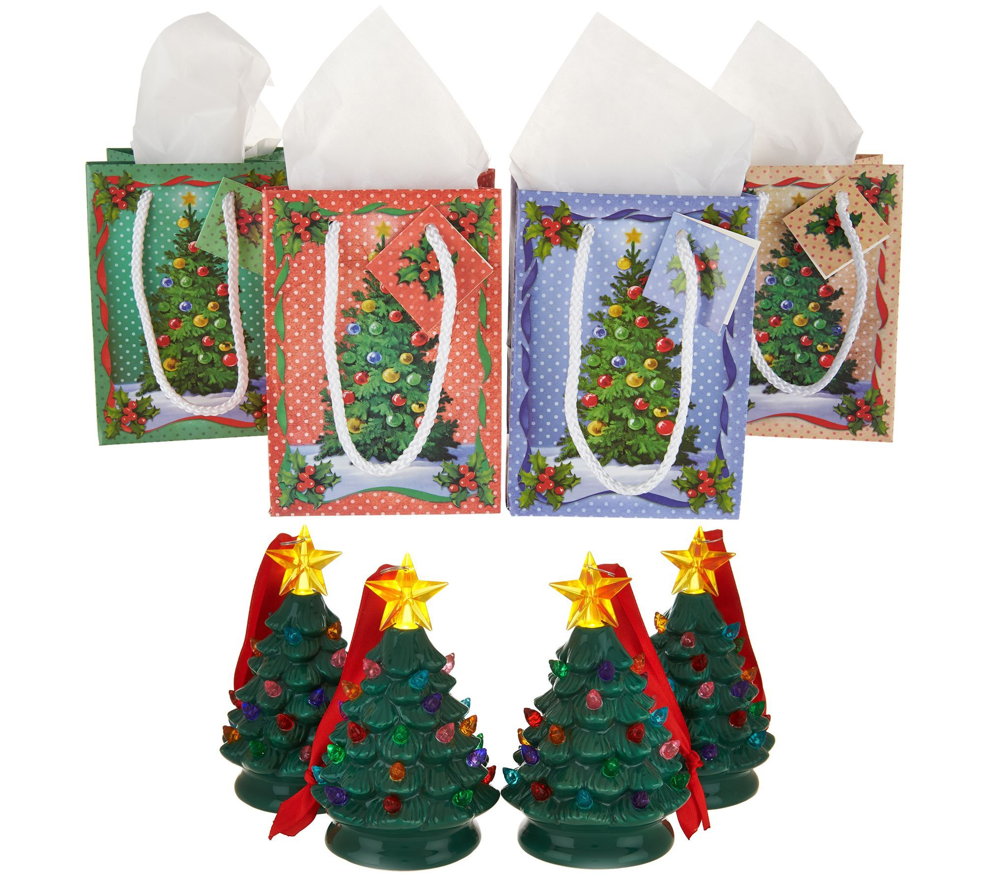 Mr Christmas Set Of 4 Mini Nostalgic Tree Ornaments With Gift Bags Qvc Com Christmas Settings Simple Holiday Gifts Gift Bags